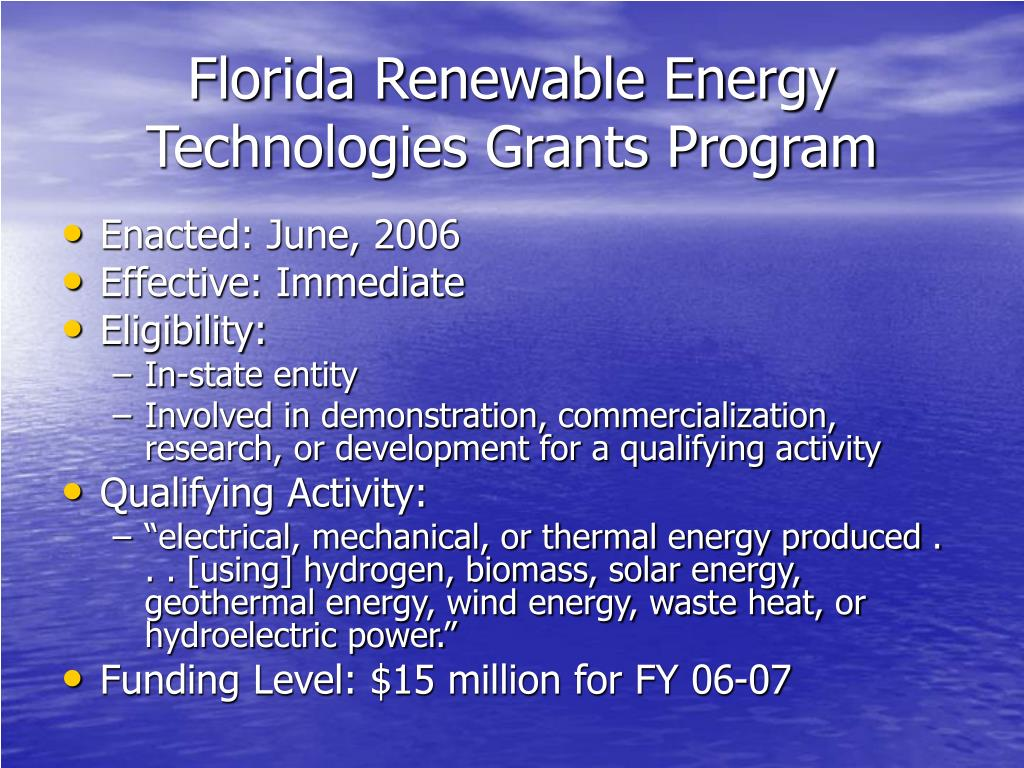Florida Renewable Energy Technologies Grants Program