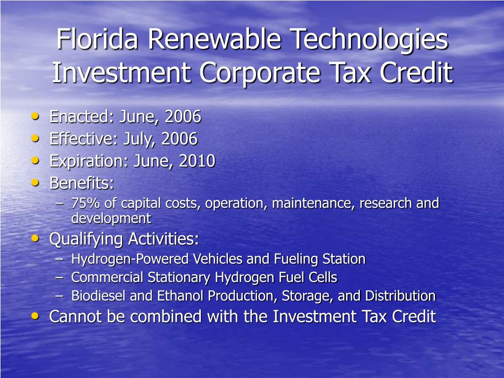 Florida Renewable Technologies Investment Corporate Tax Credit