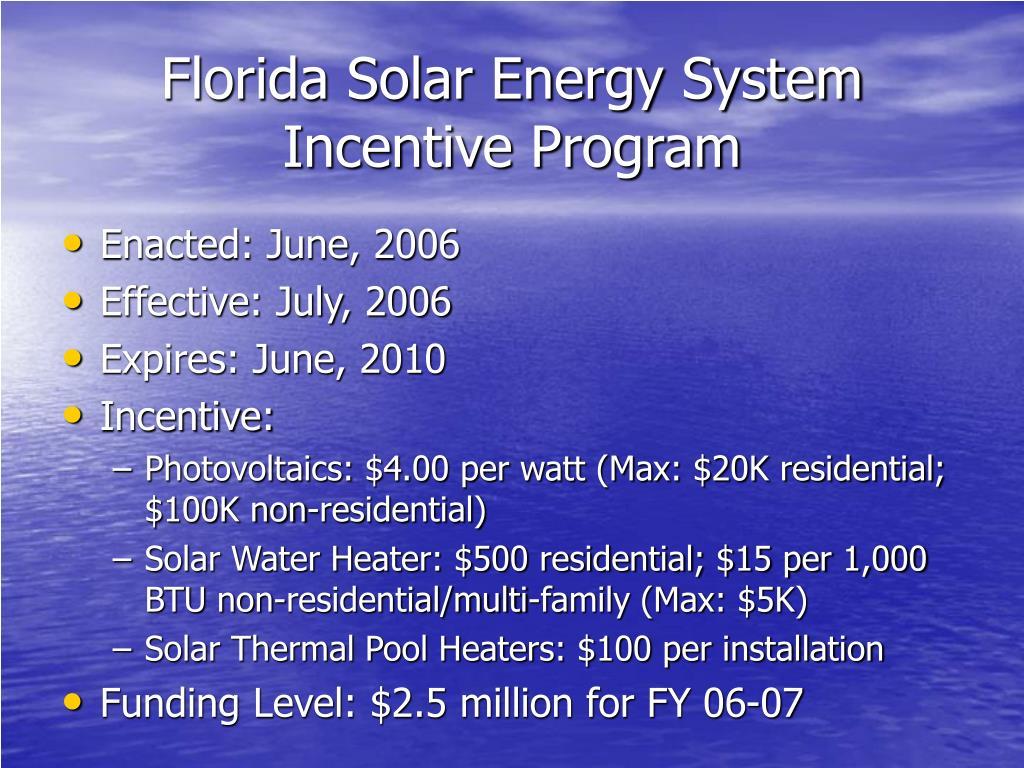 Florida Solar Energy System Incentive Program