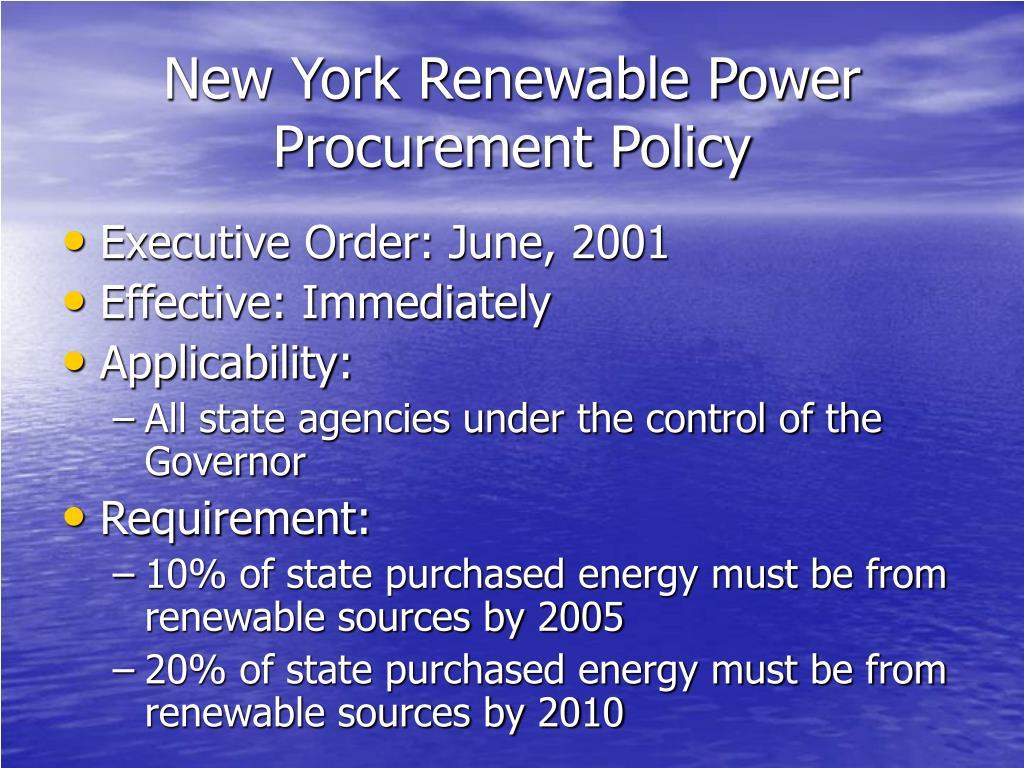 New York Renewable Power Procurement Policy