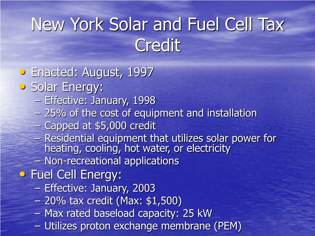 New York Solar and Fuel Cell Tax Credit