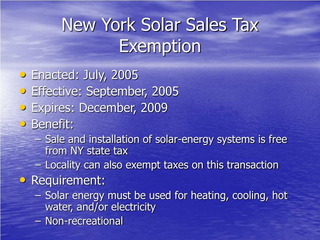 New York Solar Sales Tax Exemption