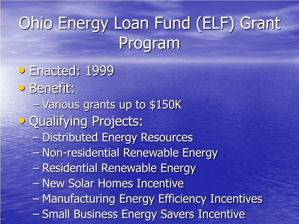 Ohio Energy Loan Fund (ELF) Grant Program