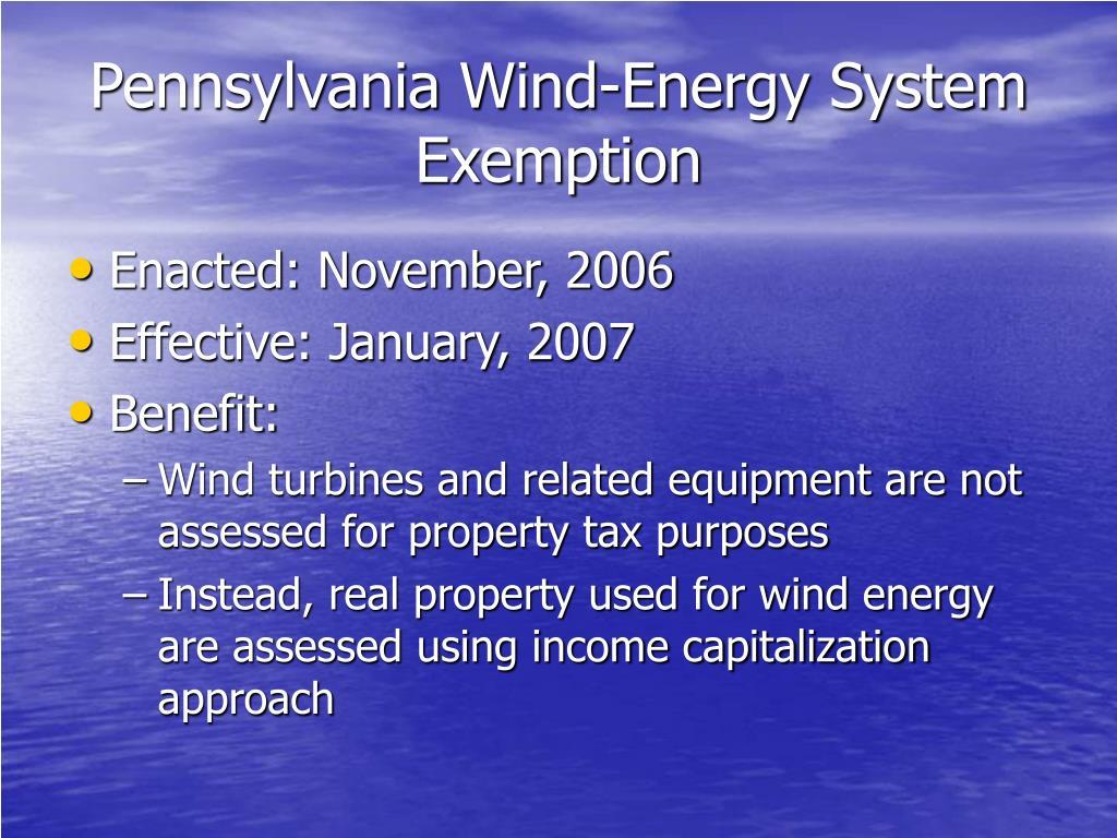 Pennsylvania Wind-Energy System Exemption