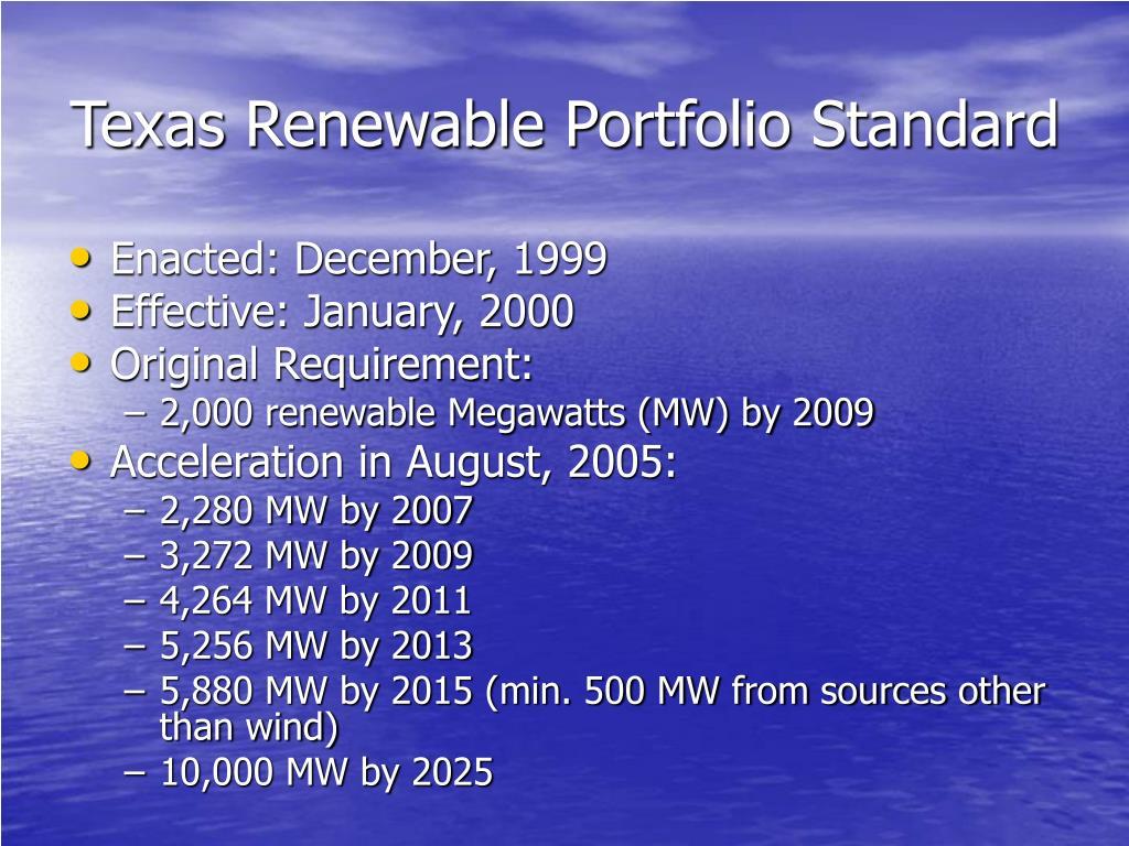 Texas Renewable Portfolio Standard