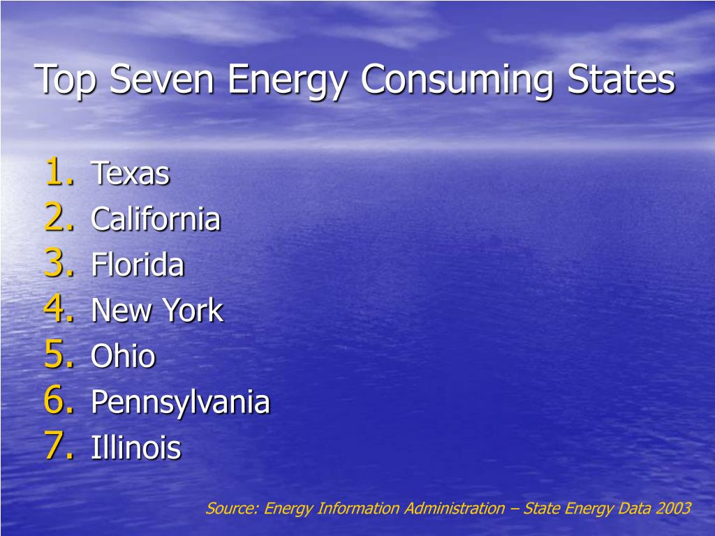 Top Seven Energy Consuming States