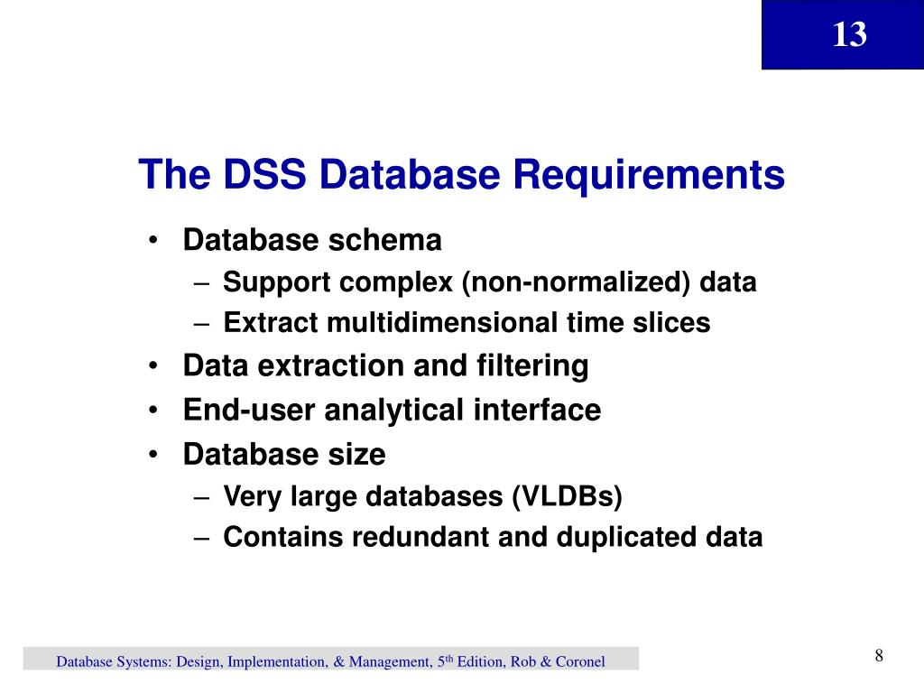 The DSS Database Requirements
