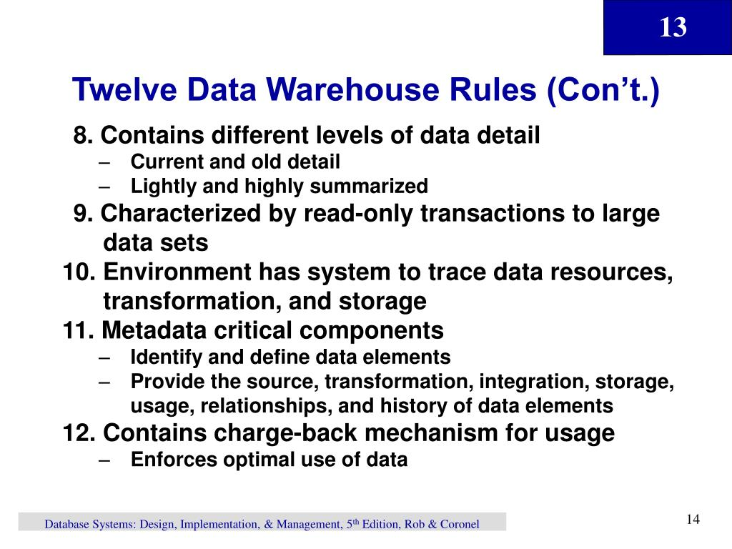 Twelve Data Warehouse Rules (Con't.)