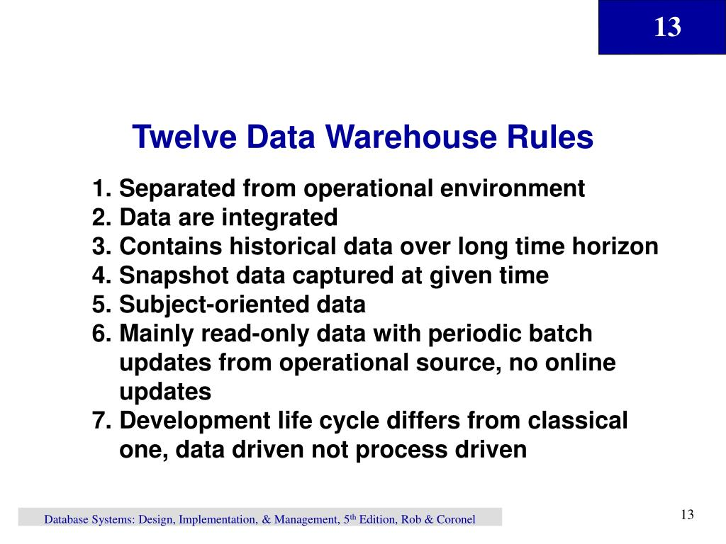 Twelve Data Warehouse Rules