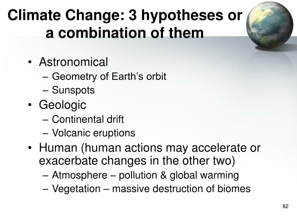 Climate Change: 3 hypotheses or a combination of them