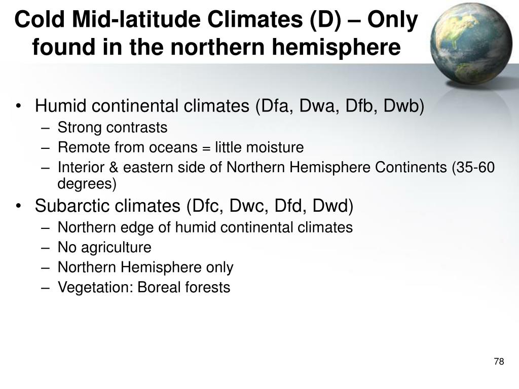 Cold Mid-latitude Climates (D) – Only found in the northern hemisphere