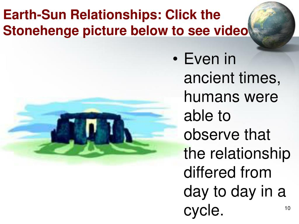 Earth-Sun Relationships: Click the Stonehenge picture below to see video