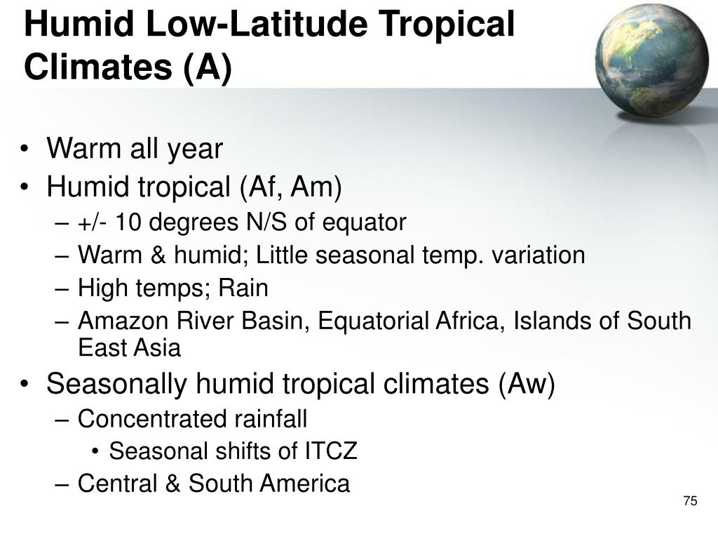 Humid Low-Latitude Tropical Climates (A)