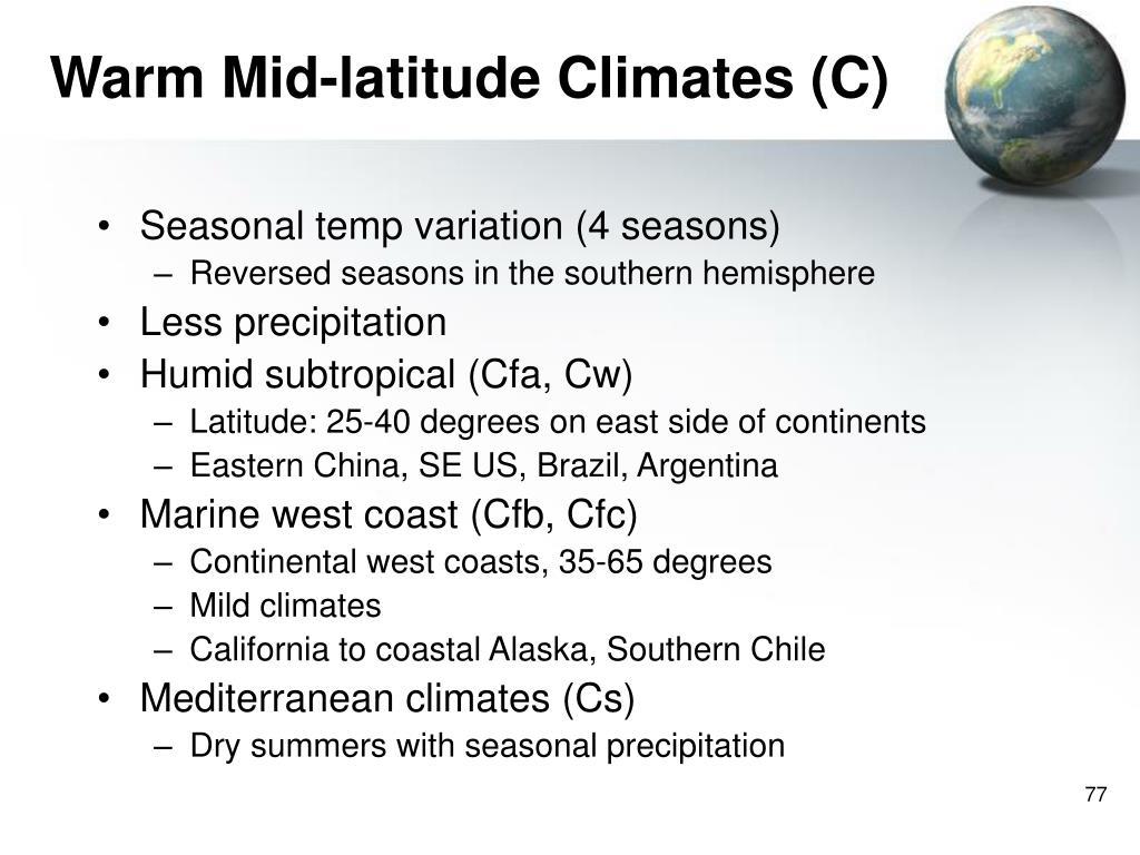 Warm Mid-latitude Climates (C)