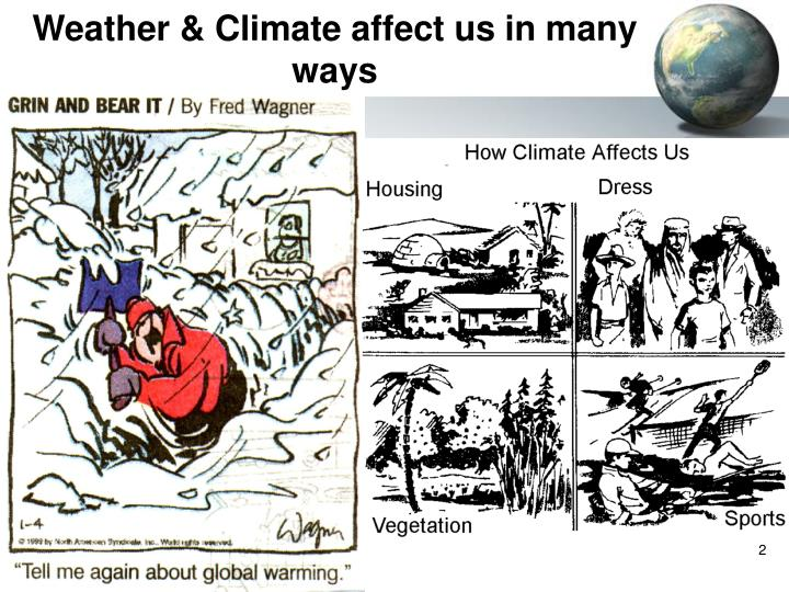 Weather climate affect us in many ways