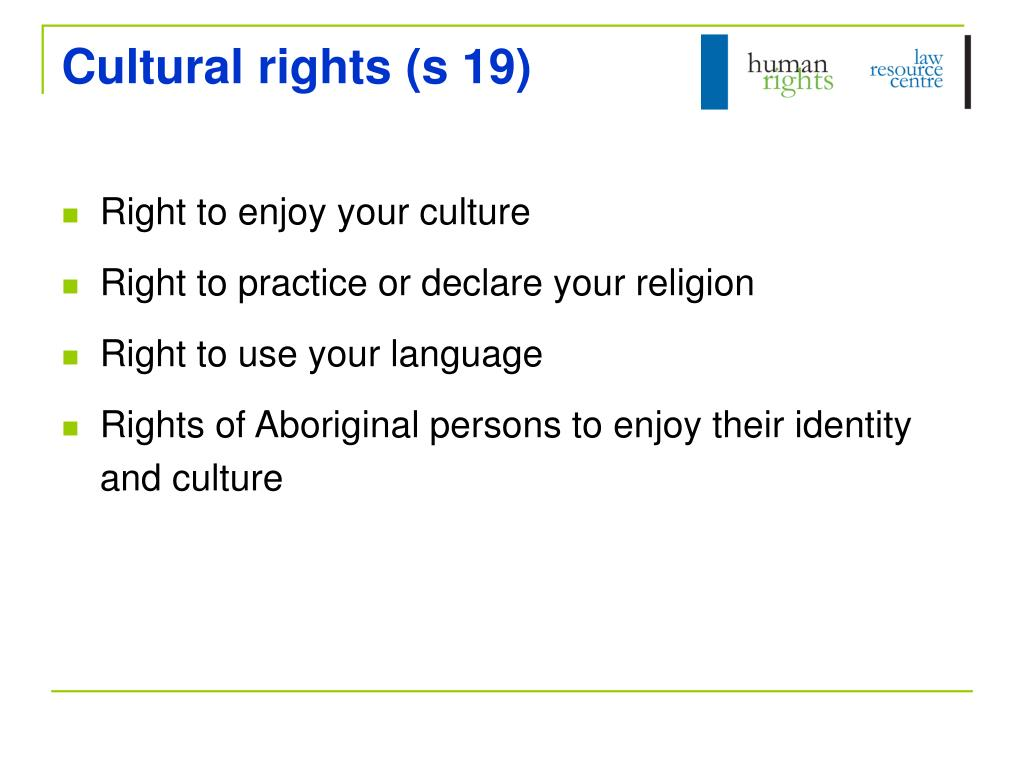 Cultural rights (s 19)