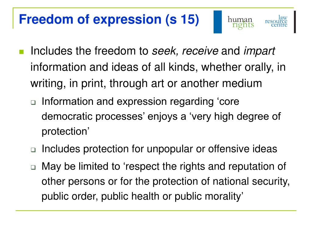 Freedom of expression (s 15)
