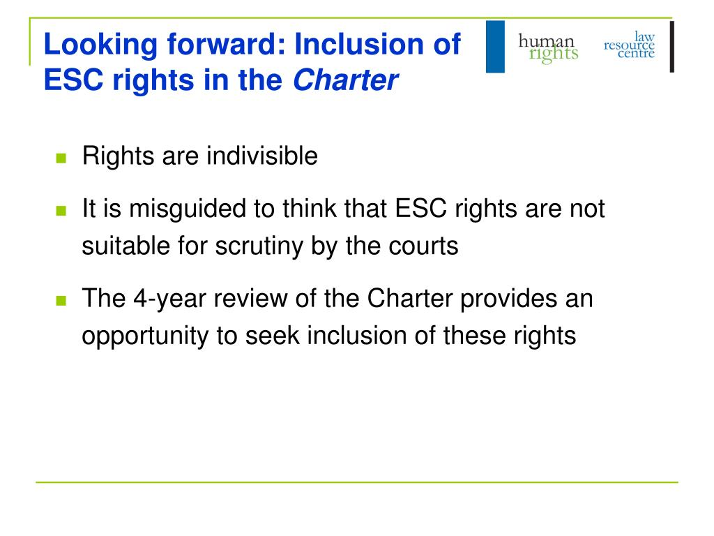 Looking forward: Inclusion of ESC rights in the
