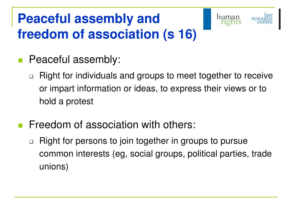 Peaceful assembly and