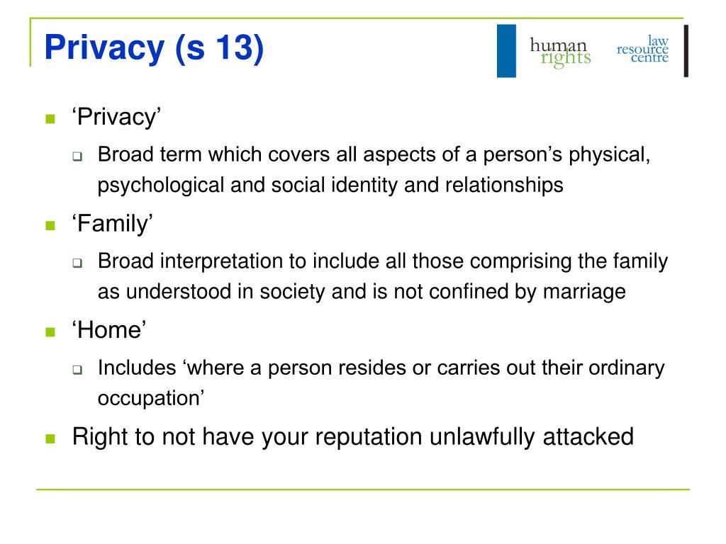 Privacy (s 13)