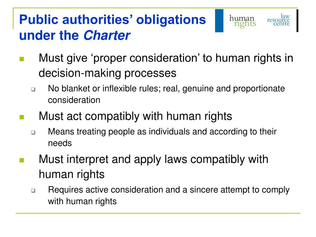 Public authorities' obligations