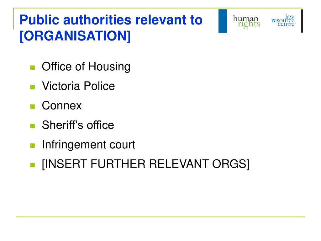 Public authorities relevant to  [ORGANISATION]