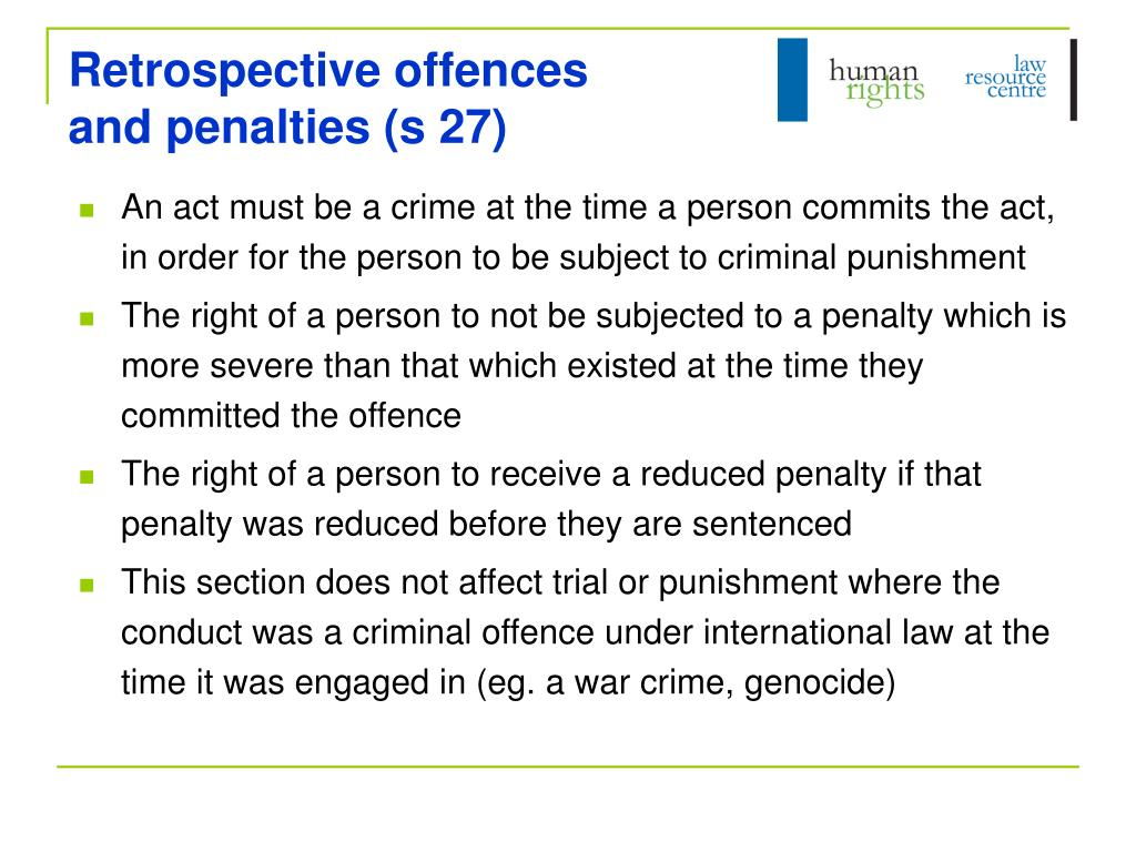 Retrospective offences