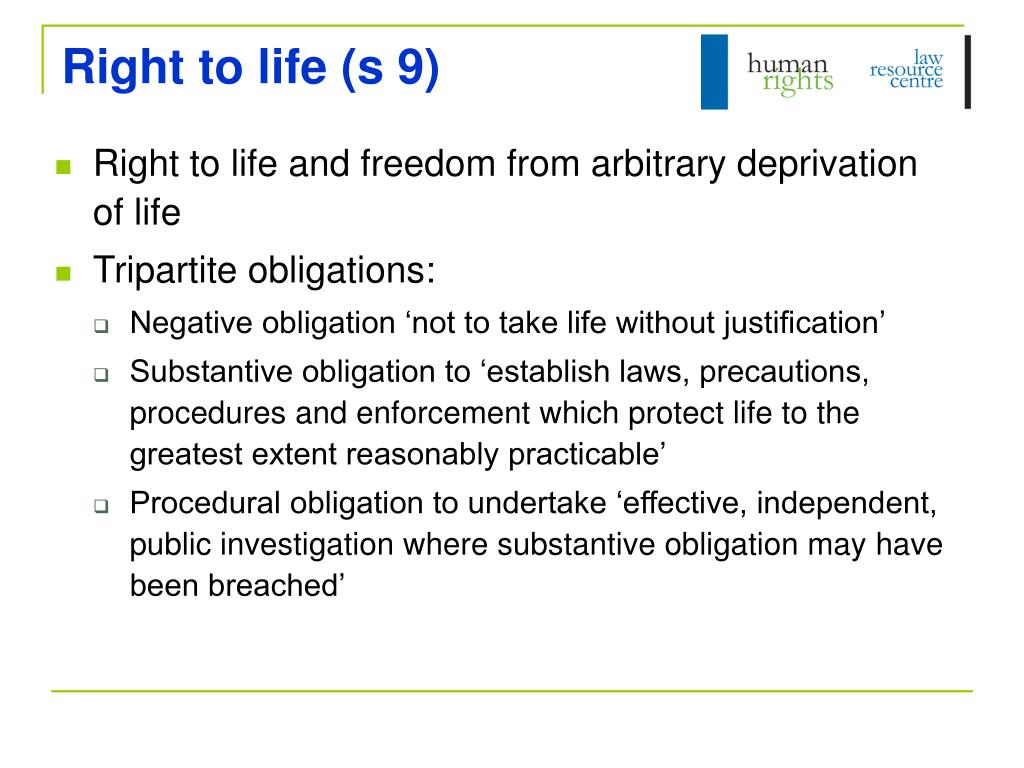 Right to life (s 9)