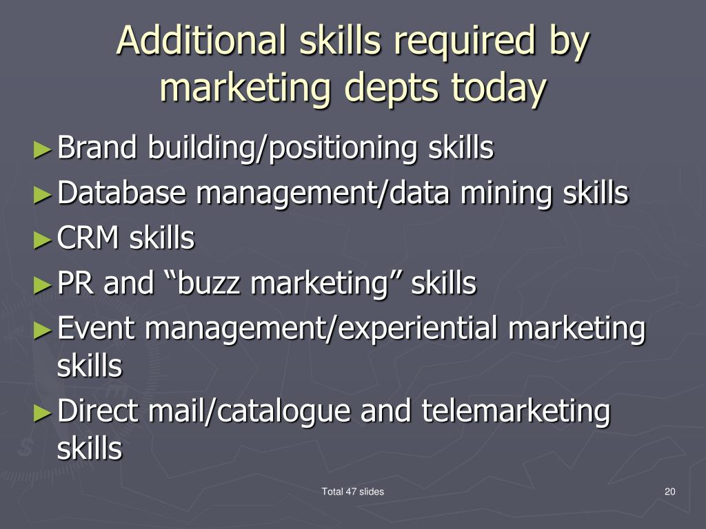 Additional skills required by marketing depts today