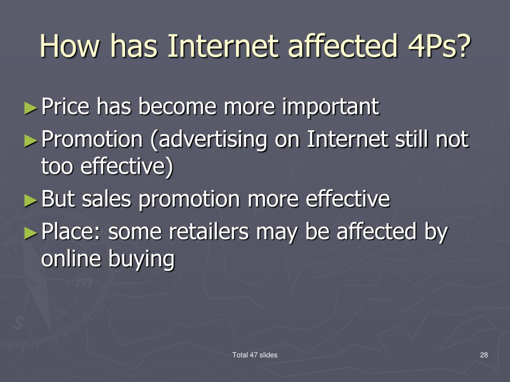 How has Internet affected 4Ps?