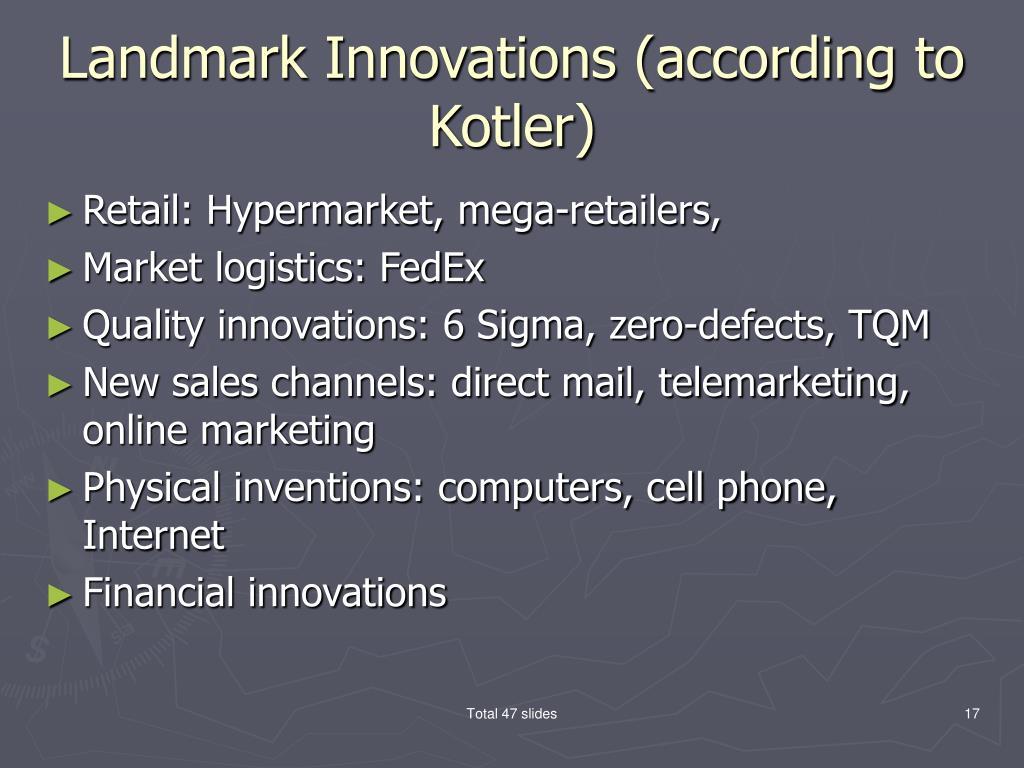 Landmark Innovations (according to Kotler)