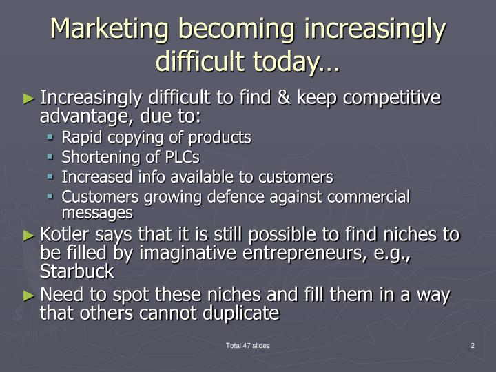 Marketing becoming increasingly difficult today