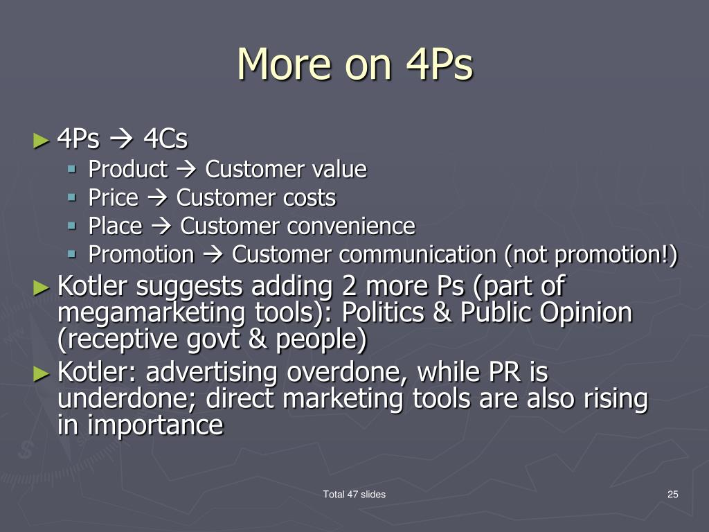 More on 4Ps
