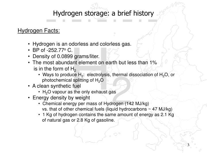 Hydrogen storage a brief history