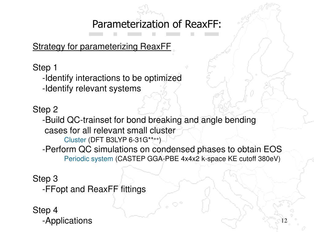 Parameterization of ReaxFF: