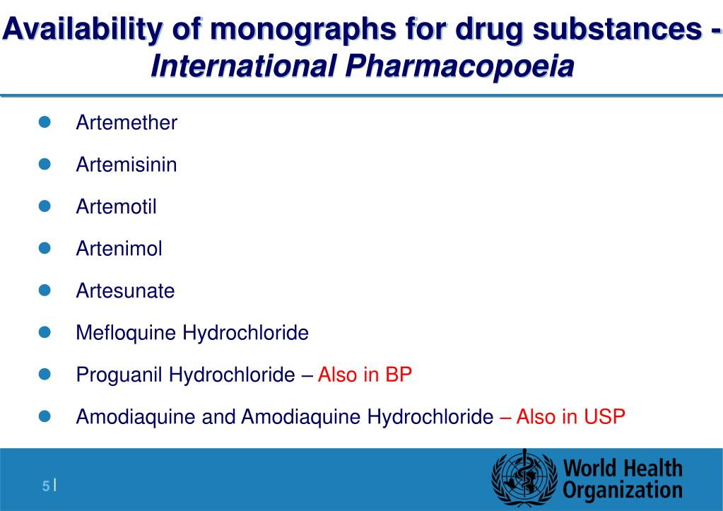 Availability of monographs for drug substances -