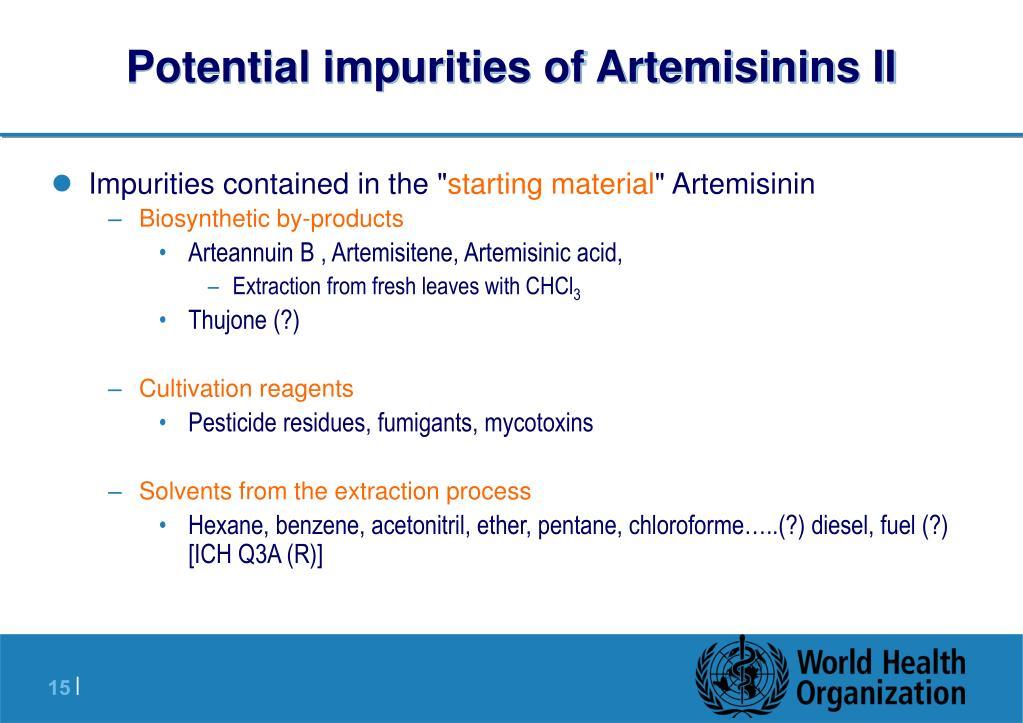 Potential impurities of Artemisinins II