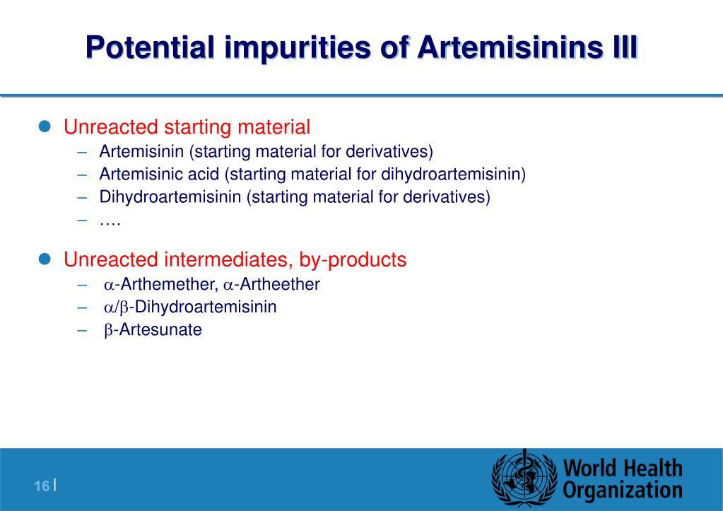 Potential impurities of Artemisinins III