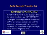 build operate transfer act