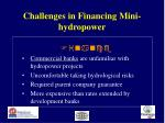 challenges in financing mini hydropower22