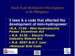 small scale hydropower development in the philippines
