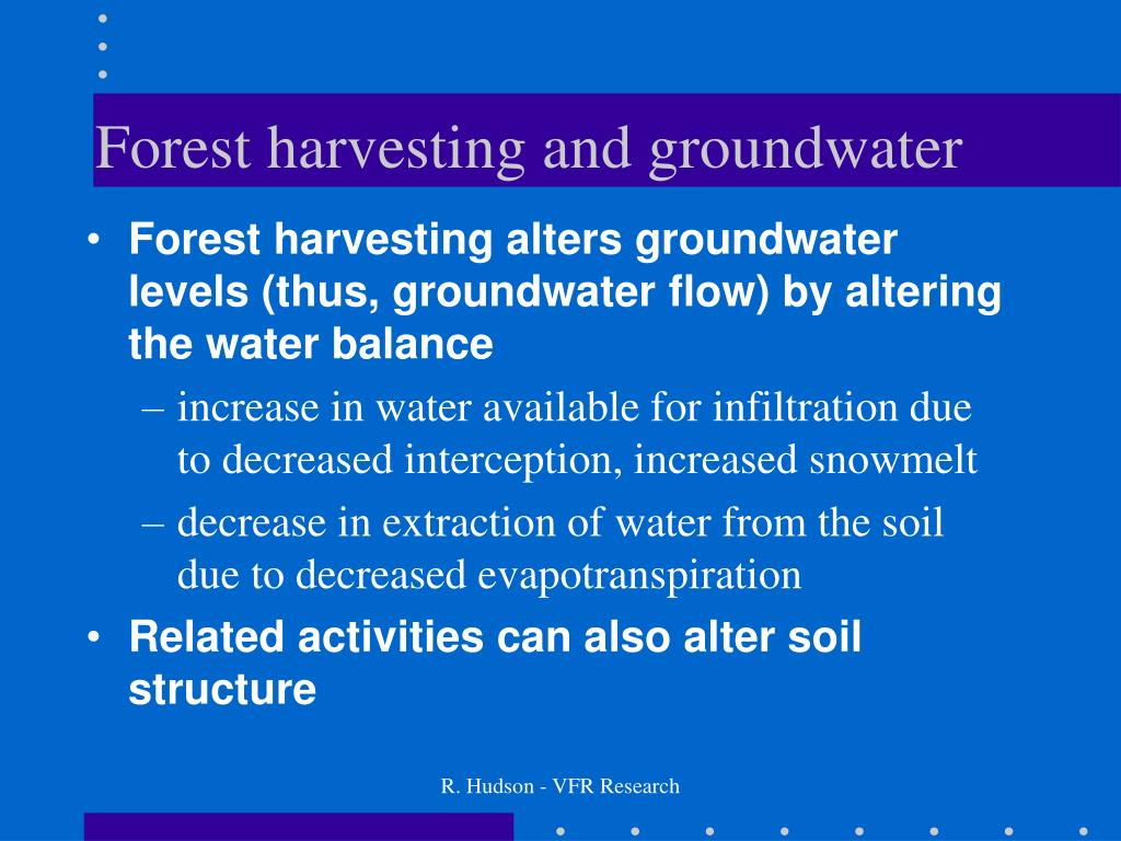 Forest harvesting and groundwater