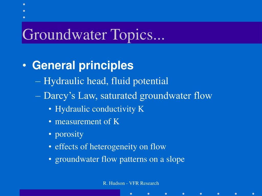 Groundwater Topics...