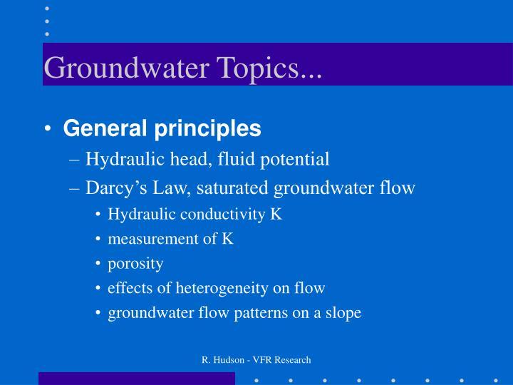 Groundwater topics
