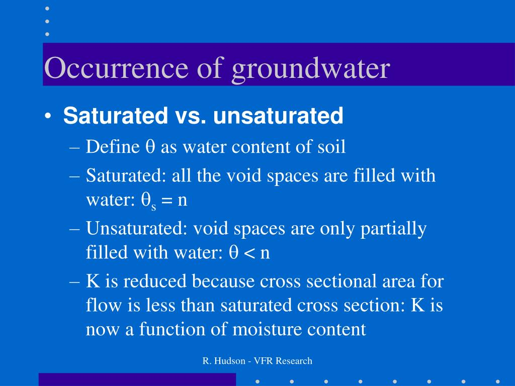 Occurrence of groundwater