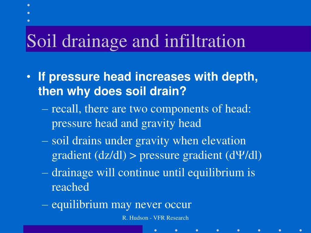 Soil drainage and infiltration