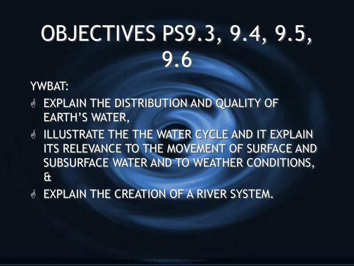 Objectives ps9 3 9 4 9 5 9 6