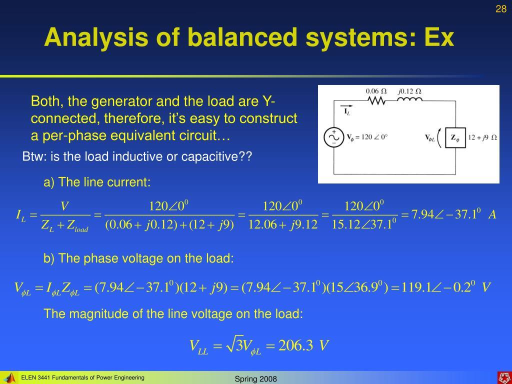 Analysis of balanced systems: Ex