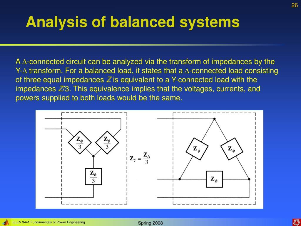 Analysis of balanced systems