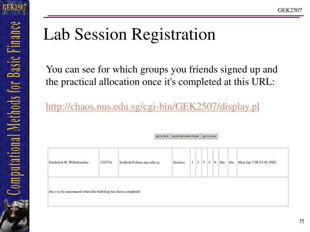 Lab Session Registration